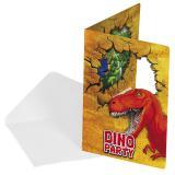 """Einladungskarten """"Abenteuerliche Dinos"""" mit Umschlag 6er Pack"""