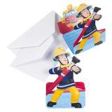 """Einladungskarten """"Feuerwehrmann Sam"""" mit Umschlag 8er Pack"""