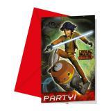 """Einladungskarten """"Star Wars - Rebels"""" mit Umschlag 6er Pack"""