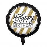 "Folien-Ballon ""Black & Gold"" - Happy Birthday 46 cm"