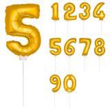"""Folien-Ballon """"Goldene Zahl"""" inkl. Stab 36 cm"""