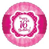 "Folien-Ballon Happy Birthday ""Pretty Pink 16""  45cm"