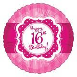 "Folien-Ballon Happy Birthday ""Pretty Pink 16""  45cm"