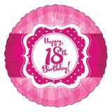 "Folien-Ballon Happy Birthday ""Pretty Pink 18"" 45 cm"