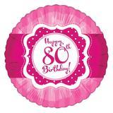 "Folien-Ballon Happy Birthday ""Pretty Pink 80"" 45 cm"