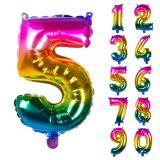 Folien-Ballon in Zahlenform Regenbogen 36 cm