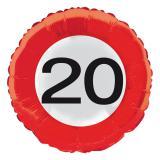 """Folien-Ballon Verkehrsschild """"20. Geburtstag"""" 45 cm"""