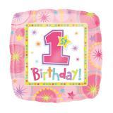 """Folien-Ballon """"1. Geburtstag für Mädchen"""" 43 cm"""