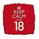 """Folienballon """"Keep calm you're 18"""" 46 cm"""