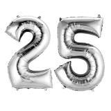 "Folienballon-Set ""Silberne 25"""