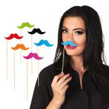 "Foto-Requisiten-Set ""Bunte Schnäuzer"" 6er Pack"