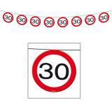 Girlande Verkehrsschild 30. Geburtstag 12 m