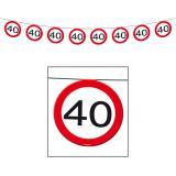 Girlande Verkehrsschild 40. Geburtstag 12 m