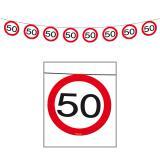 Girlande Verkehrsschild 50. Geburtstag 12 m