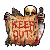"Halloween-Raumdeko ""Keep Out!"" aus Pappe 27 cm"