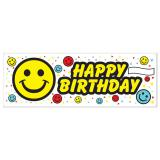 "Happy Birthday-Banner ""Bunte Smileys"" 1,5 m x 53 cm"