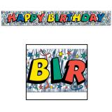 """Happy Birthday"" Flatter-Banner bunt-metallic 1,5 m"