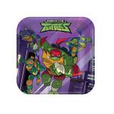 """Kleine eckige Pappteller """"Aufstieg der Turtles"""" 8er Pack"""