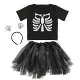 """Kostüm-Set """"Süßes Skelett-Mädchen"""" 3-tlg."""