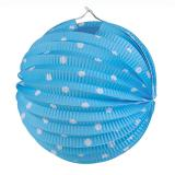 """Lampion mit Licht """"Farbenfroher Punkte-Spaß"""" 20 cm-hellblau"""