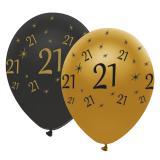 """Lufballons """"Black & Gold 21"""" 6er Pack"""