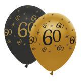 """Luftballons """"Black & Gold 60"""" 6er Pack"""