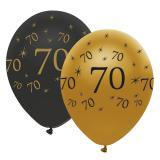"""Luftballons """"Black & Gold 70"""" 6er Pack"""