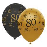 """Luftballons """"Black & Gold 80"""" 6er Pack"""