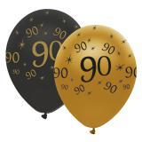 """Luftballons """"Black & Gold 90"""" 6er Pack"""
