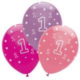 "Luftballons ""Dschungel Girls 1. Geburtstag"" 6er Pack"