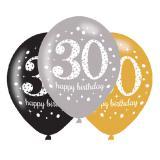 "Luftballons ""Funkelnder Geburtstag 30"" 6er Pack"