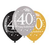 "Luftballons ""Funkelnder Geburtstag 40"" 6er Pack"
