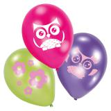 "Luftballons ""Niedliche Eulen Parade"" 6er Pack"