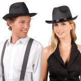 Mafioso-Hut mit Nadelstreifen schwarz