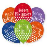 """Metallische Happy Birthday-Luftballons """"Lustige Punkte"""" 6er Pack"""