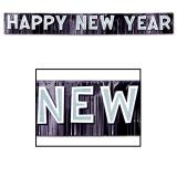 "Metallisches Fransen-Banner ""Happy new year"" 25 cm x 2,7 m"