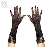 """Netz-Handschuhe """"Spinnennetz"""" mit Strass-Totenkopf"""