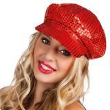 Pailletten-Mütze-rot
