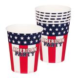 """Pappbecher """"American Party"""" 6er Pack"""