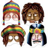 """Pappmasken """"Hippie"""" 4-tlg."""