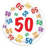 """Pappteller 50. Geburtstag """"Zahlenexplosion"""" 8er Pack"""