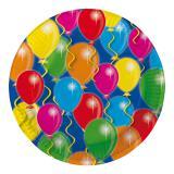"""Pappteller """"Happy Birthday Bunte Ballons"""" 23 cm 8er Pack"""