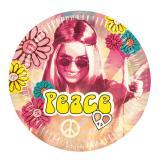 "Pappteller ""Bunte Hippie-Power"" 6er Pack"