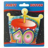 Party-Button 3D 40. Geburtstag 11 cm