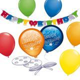 """Partydeko-Set """"Luftballons und Girlande"""" 21 tlg."""