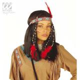 """Perücke """"Indianerin"""" mit Kopfband und Federn"""