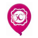 "Luftballons ""Pretty Pink"" 50. Geburtstag 6er Pack"