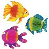 Raumdeko Tropischer Wabenpapier-Fisch 20 cm