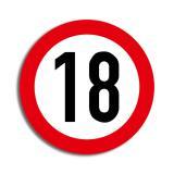 """Raumdeko Verkehrsschild """"18. Geburtstag"""" 36 cm"""