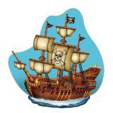Raumdeko Wildes Piratenschiff 37,5 cm x 36 cm